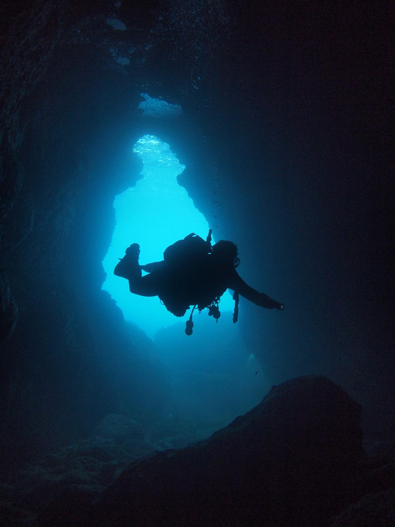 Diver inside Anchor Bay cave