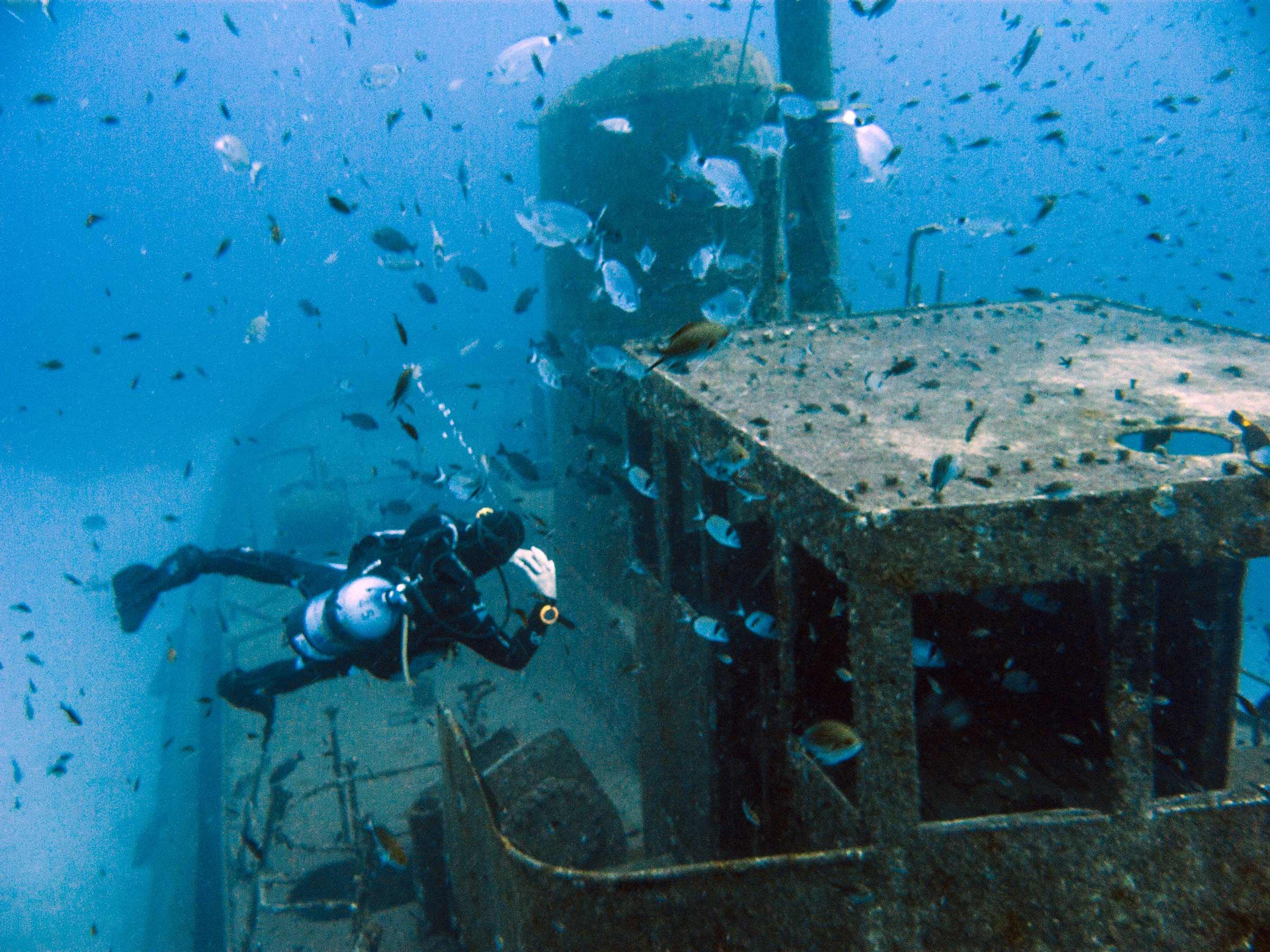 Diver admiring Rozi wreck
