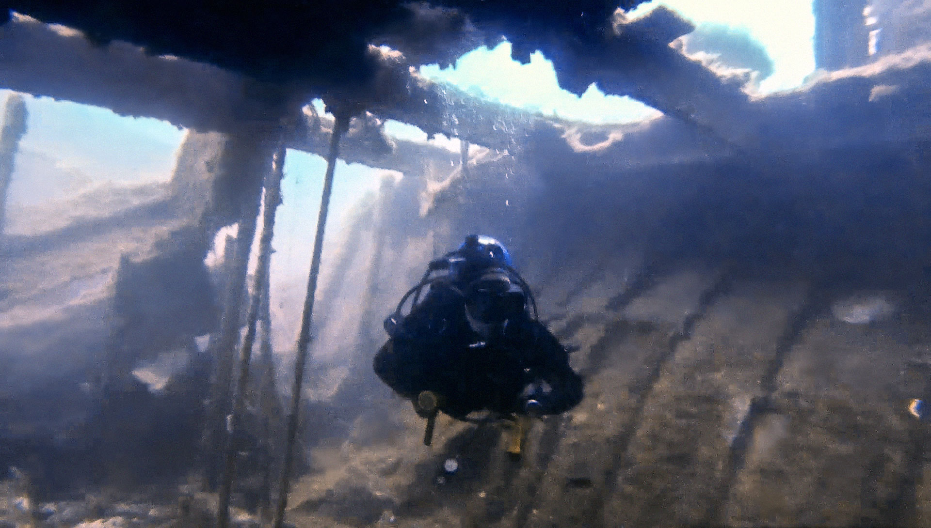 Diver inside HMS Hellespont