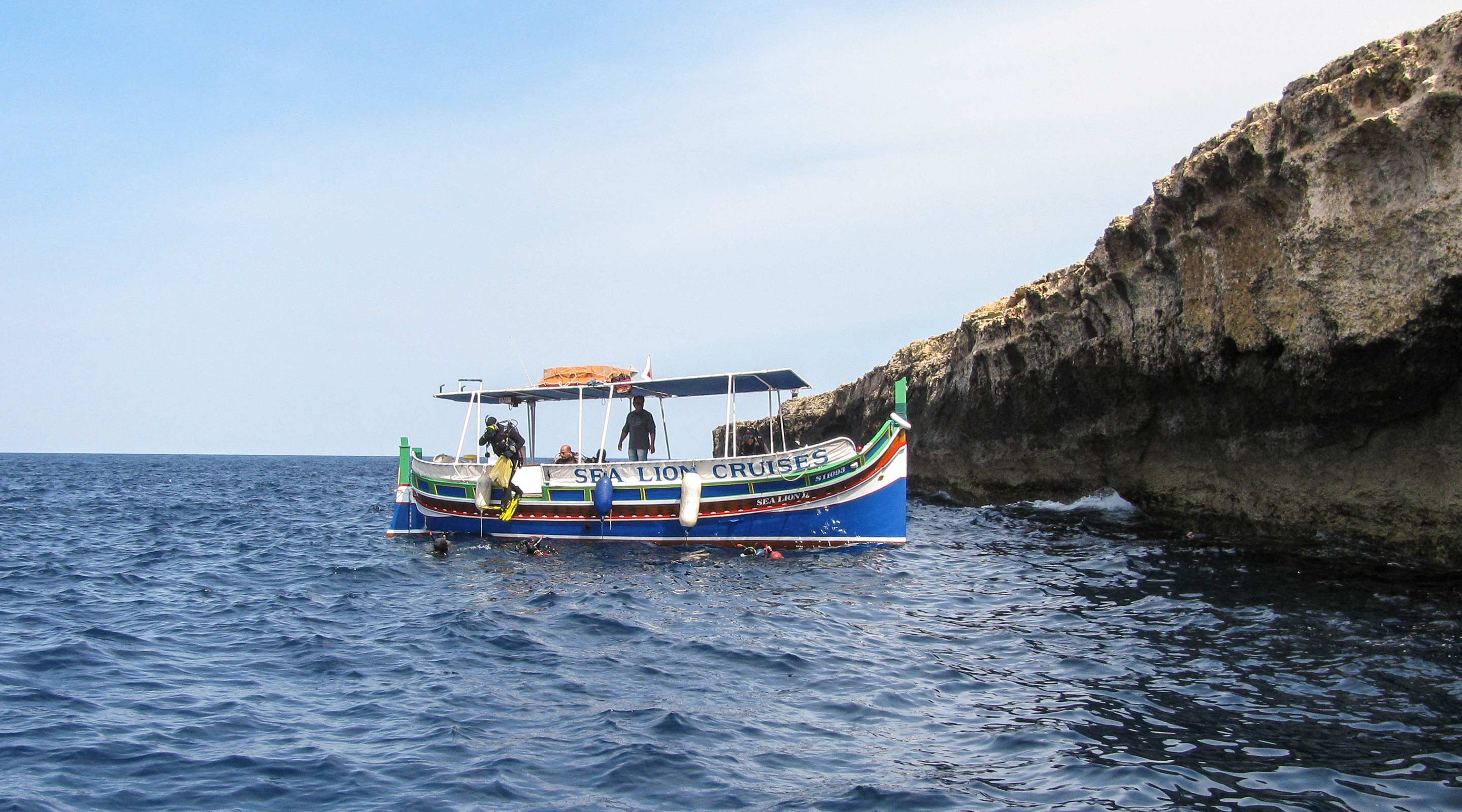 Traditional Maltese fishing boat 'luzzu' used as dive boat