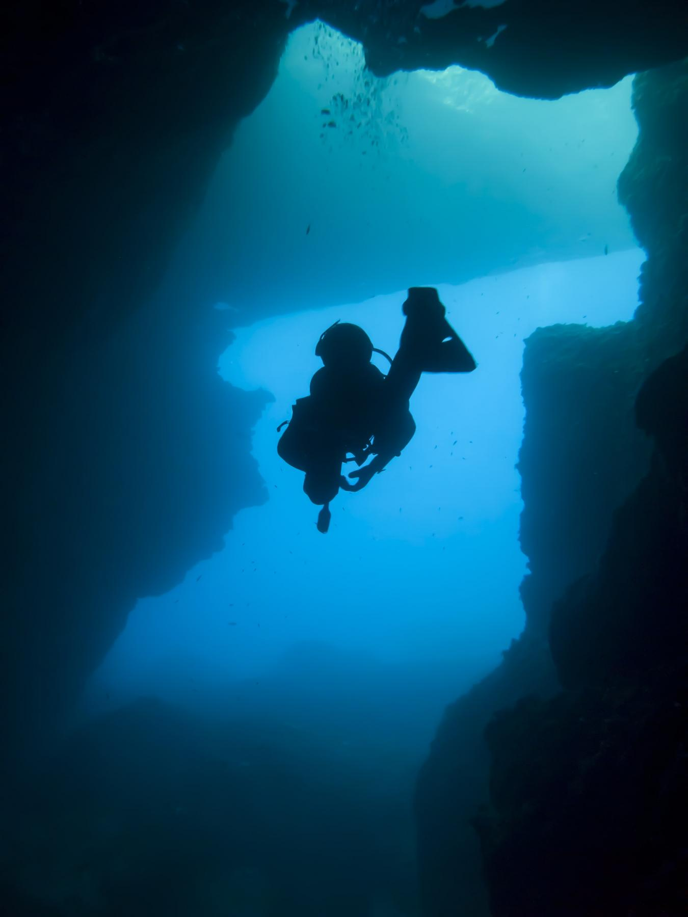 A diver in Blue Hole