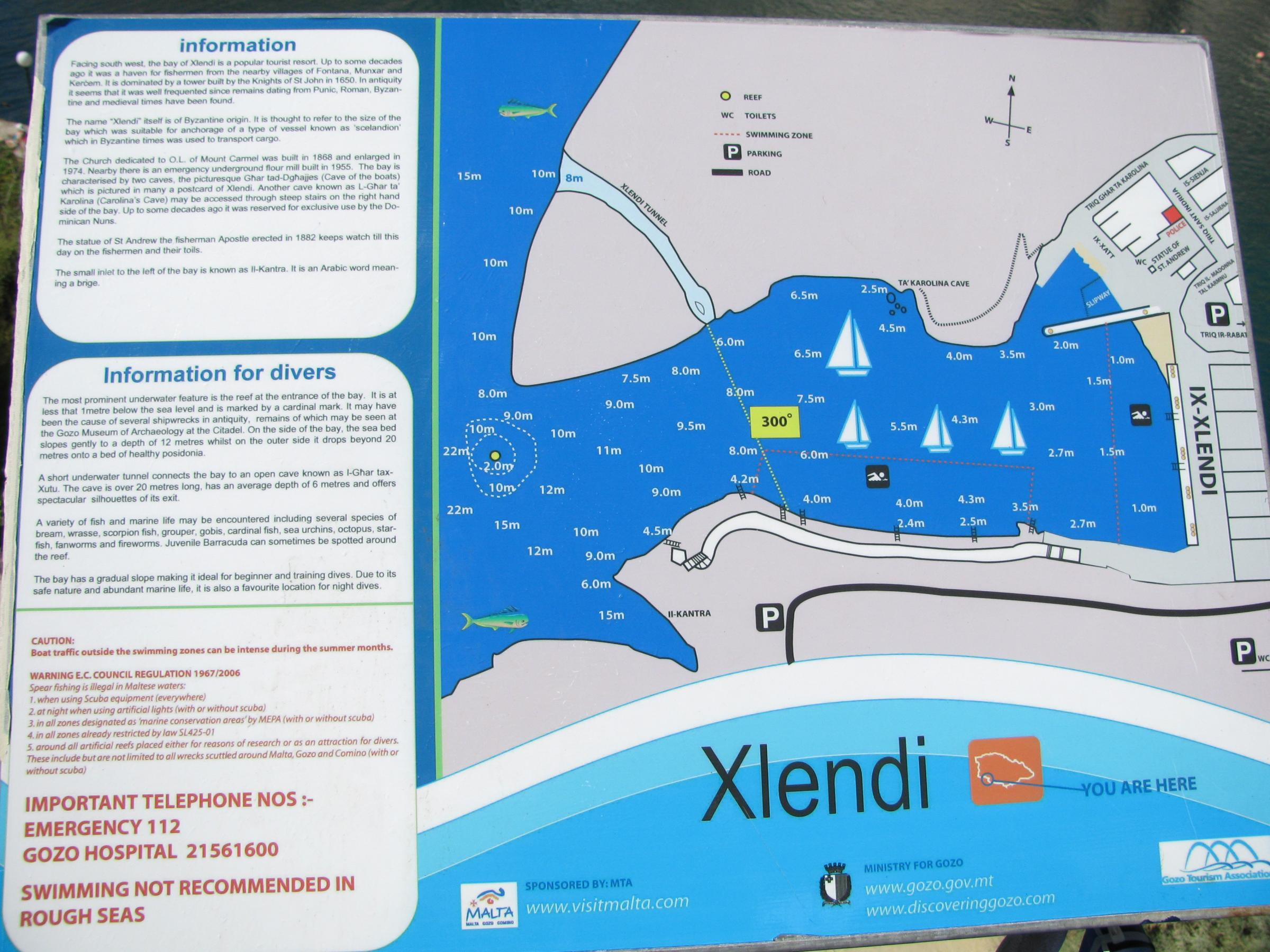 Map of Xlendi Bay