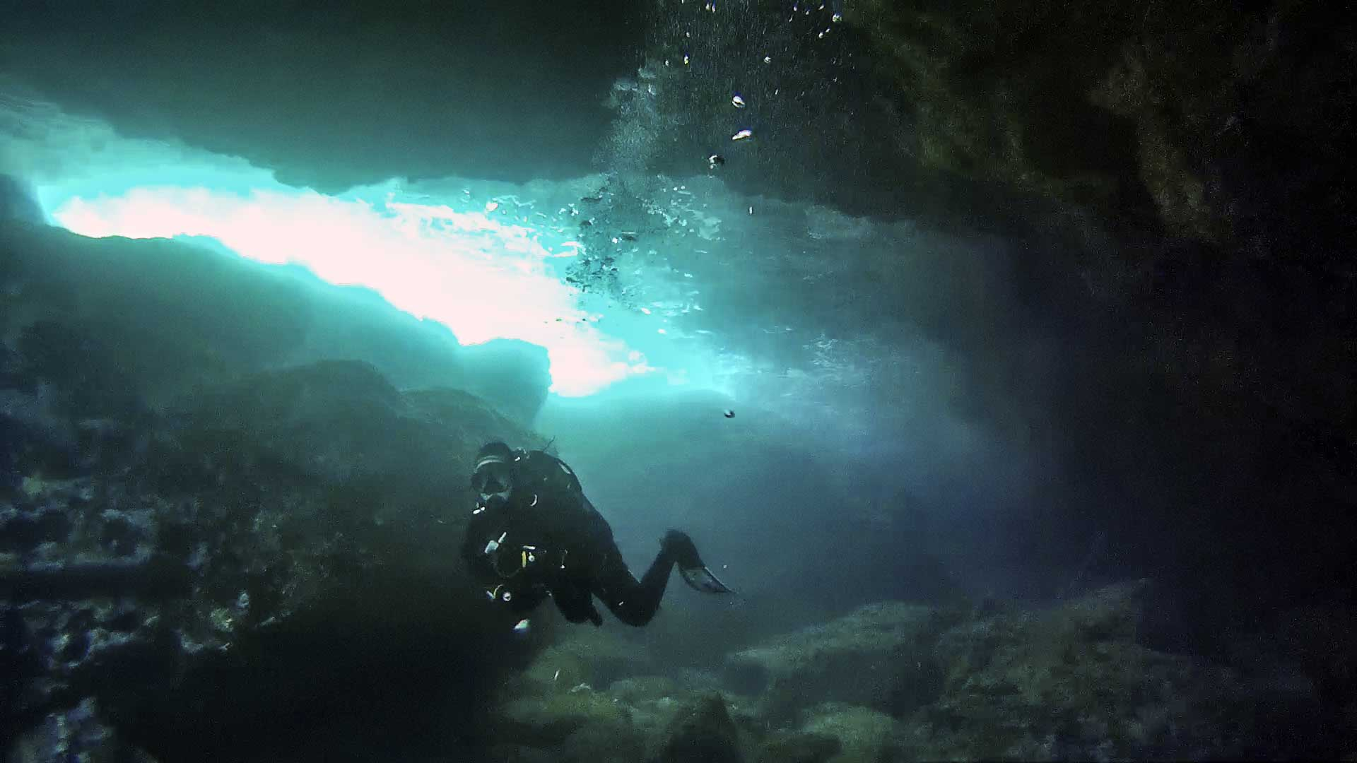 Diver inside Fra Ben Cave