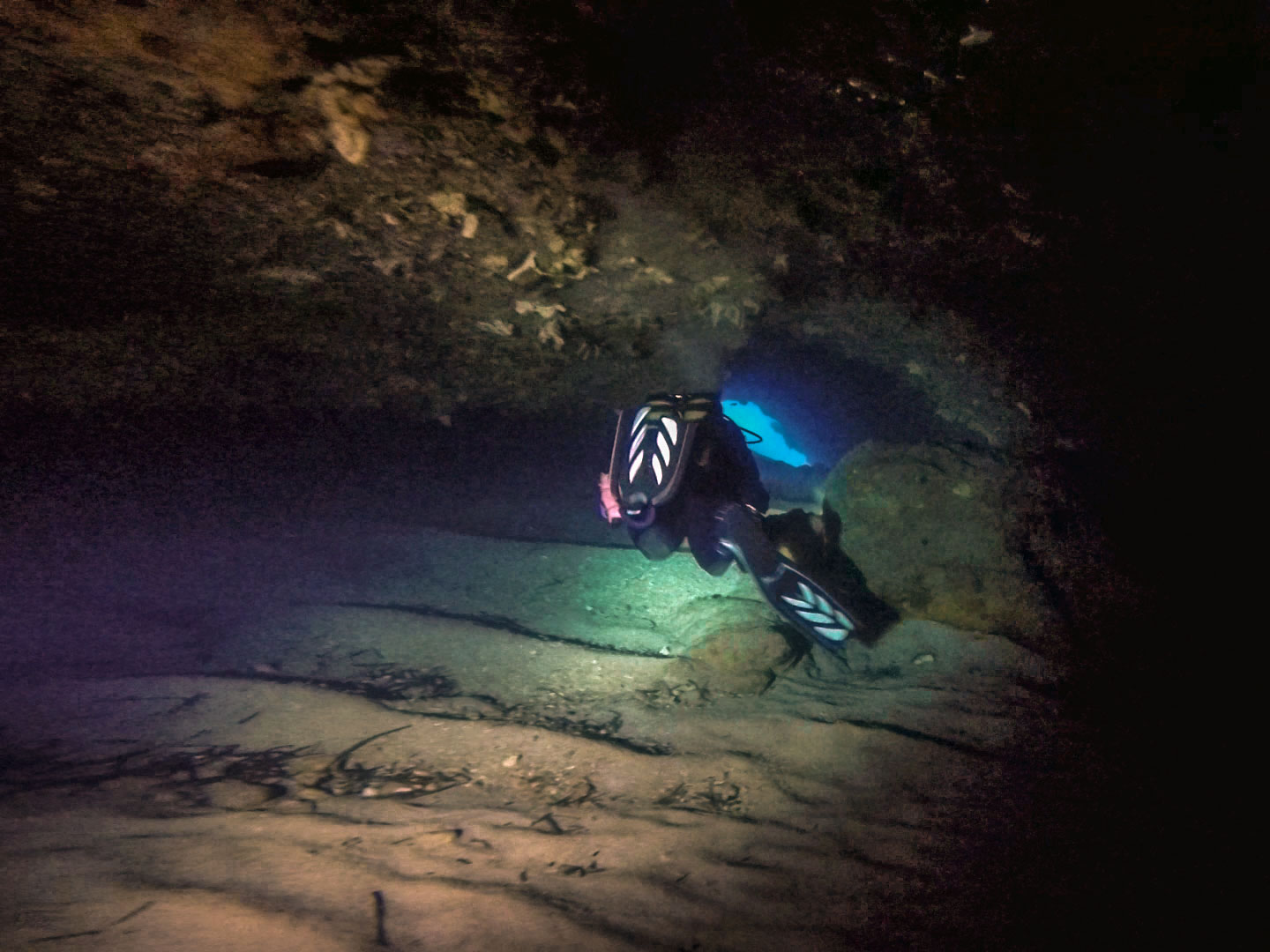 Diver inside the Qawra Point L-Cave