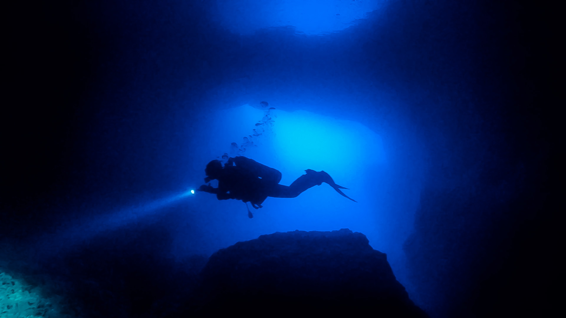 Diver exploring Blue Dome