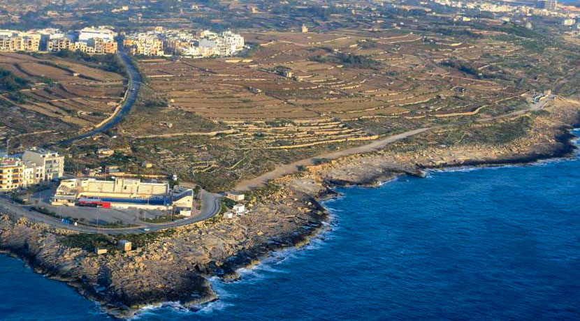 Aerial view of Zonqor Point in Marsaskala