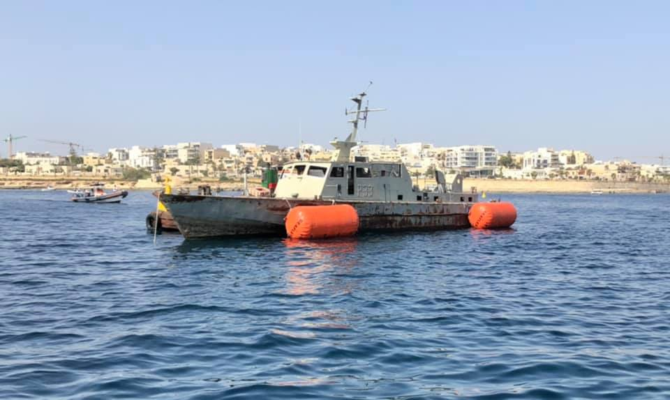 P33 wreck just before she was scuttled in Marsaskala [Max Valli]