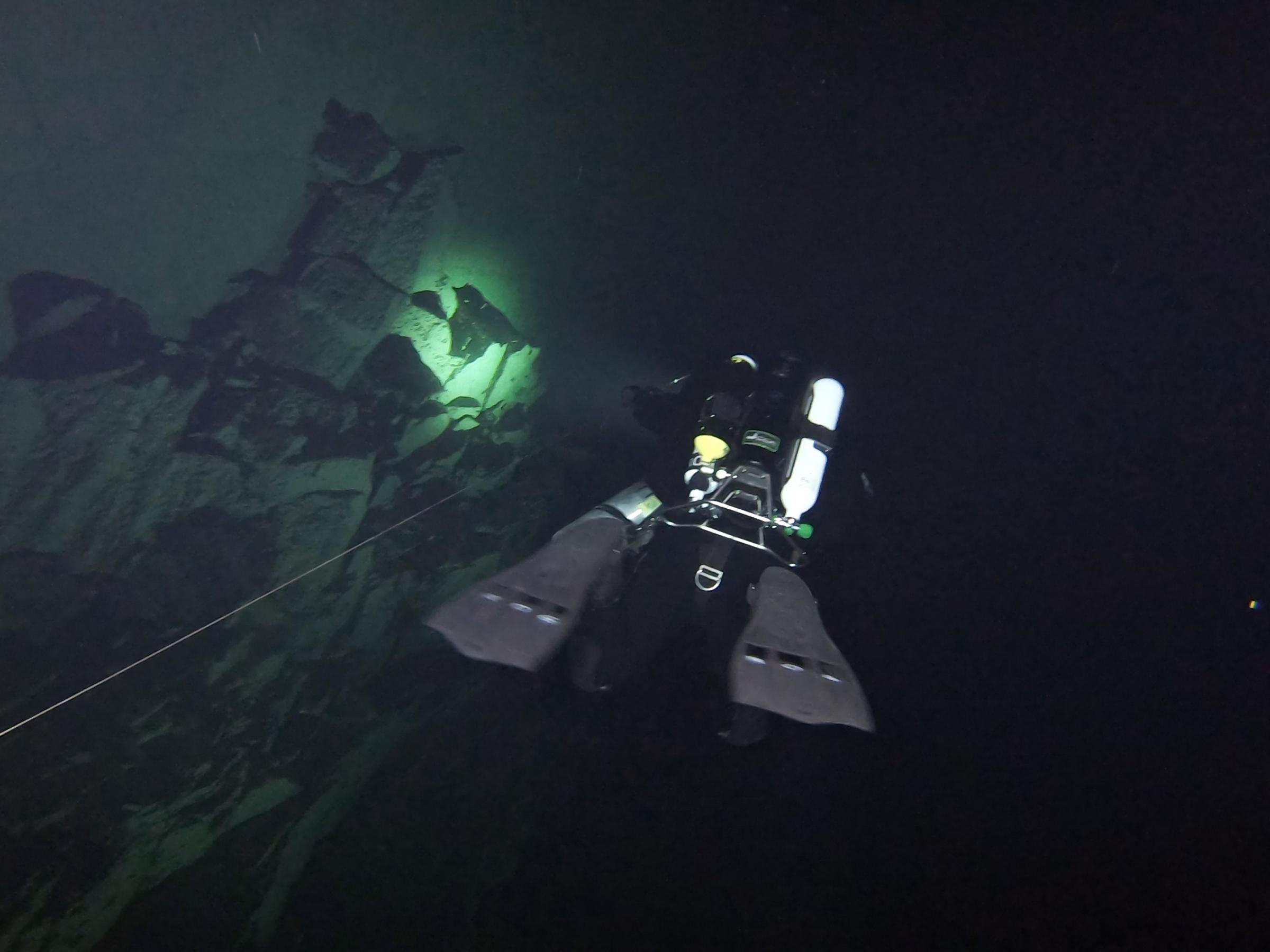 Diver in Harq Hamiem Cave [Adam Sant]