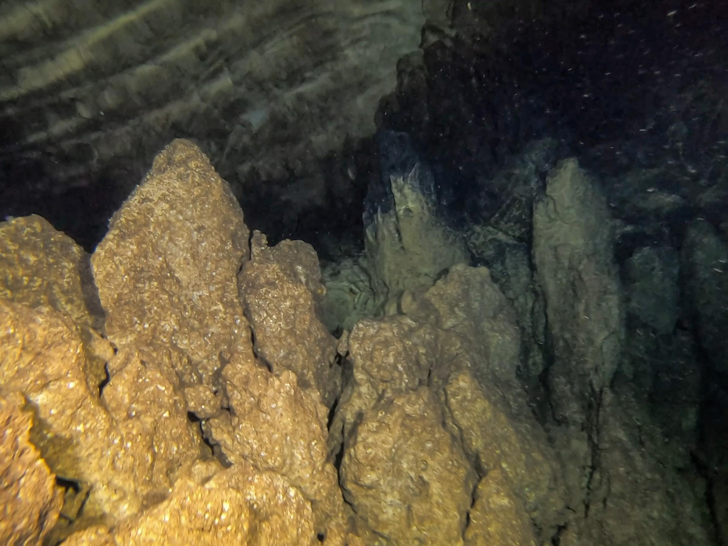 The rock formations near the air pocket inside the cave [Adam Sant]