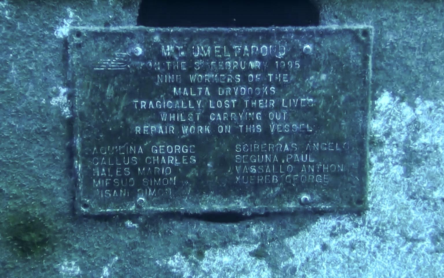 Memorial plate at Um El Faroud