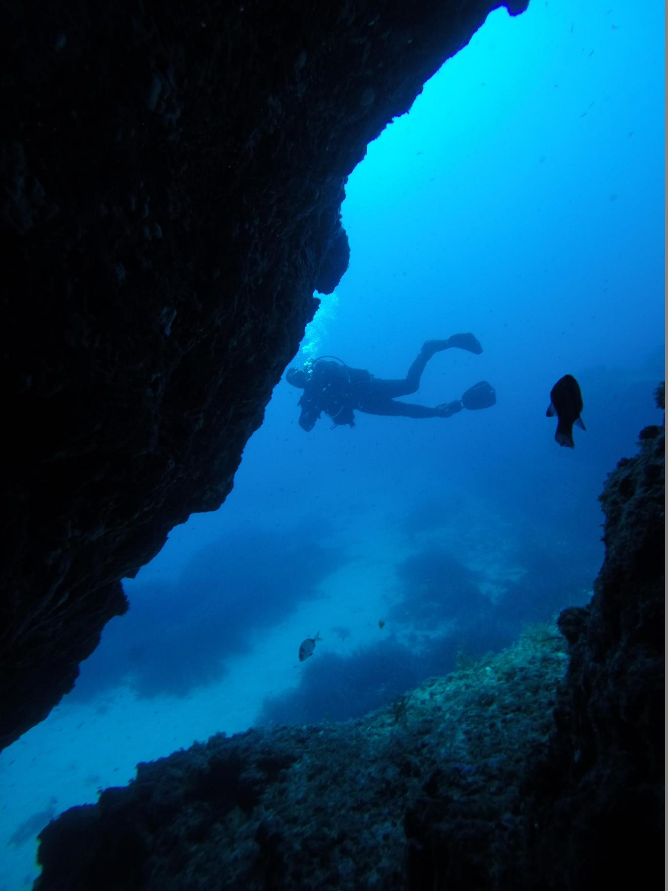 Diver outside the cave